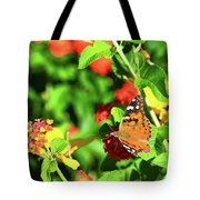 Butterfly On The Red Flower 2 Tote Bag