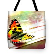 Butterfly On The Window Frame Watercolor Tote Bag