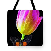 Butterfly On Yellow Pink Tulip Tote Bag