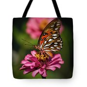 Butterfly On Zinnia Tote Bag