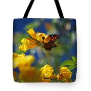 Butterfly Pollinating Flowers  Tote Bag