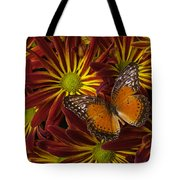 Butterfly Resting On Chrysanthemums Tote Bag