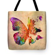 Butterfly World Map  Tote Bag