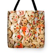 Buttoning A Background Tote Bag