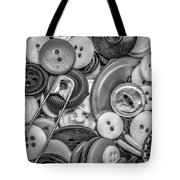 Buttons In Black And White Tote Bag