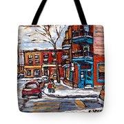 Buy Original Wilensky Montreal Paintings For Sale Achetez Petits Formats Scenes De Rue Street Scenes Tote Bag