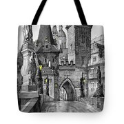 Bw Prague Charles Bridge 02 Tote Bag by Yuriy  Shevchuk