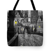 Bw Prague Charles Bridge 03 Tote Bag by Yuriy  Shevchuk