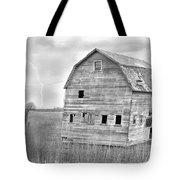 Bw Rustic Barn Lightning Strike Fine Art Photo Tote Bag