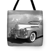 Bygone Era - 1941 Cadillac Convertible In Black And White Tote Bag