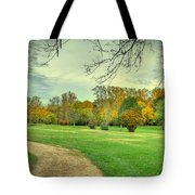 Cabin And Autumn Trees Tote Bag