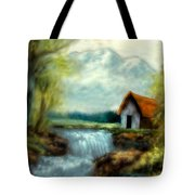 Cabin By The River Tote Bag