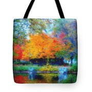 Cabin In Park Tote Bag