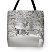 Cabin In Snow By The Sea Tote Bag