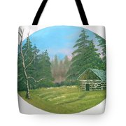 Cabin In The Meadow Tote Bag