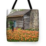Cabin In The Tulips Tote Bag