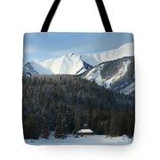 Cabin On Frozen Lake Tote Bag
