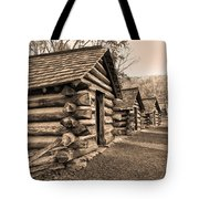 Cabins At Valley Forge In Sepia Tote Bag