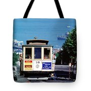 Cable Car 18 Heading Up The Hyde Street Line Tote Bag
