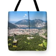 Cable Car Above The City Of Lecco Tote Bag