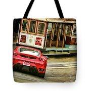 Cable Car Meets Ferrari Tote Bag