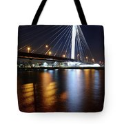 Cable-stayed Bridge Prins Clausbrug In Utrecht At Night 22 Tote Bag