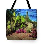 Cacti And Rock Tote Bag