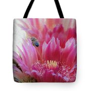 Cactus Flower And A Busy Bee Tote Bag