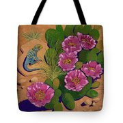 Cactus Flower Lizard Tote Bag
