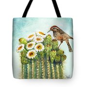 Cactus Wren And Saguaro Tote Bag