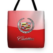 Cadillac - 3 D Badge On Red Tote Bag