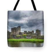 Caerphilly Castle North View 3 Tote Bag