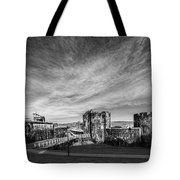 Caerphilly Castle Panorama Mono Tote Bag