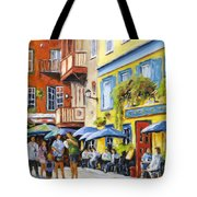 Cafe In The Old Quebec Tote Bag