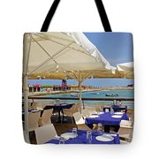 Cafe In White And Purple Tote Bag