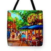 Cafe On Prince Arthur  In Montreal  Tote Bag