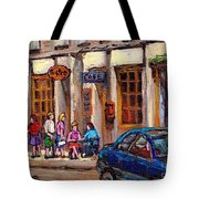 Outdoor Cafe Painting Vieux Montreal City Scenes Best Original Old Montreal Quebec Art Tote Bag