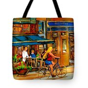 Cafes With Blue Awnings Tote Bag