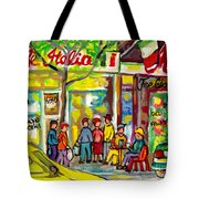 Caffe Italia And Milano Charcuterie Montreal Watercolor Streetscenes Little Italy Paintings Cspandau Tote Bag