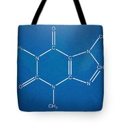 Caffeine Molecular Structure Blueprint Tote Bag by Nikki Marie Smith