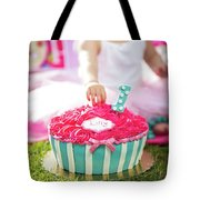 Cake Smash Pink Cake With Blue And White Stripes Tote Bag