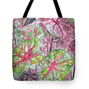 Caladiums Tropical Plant Art Tote Bag