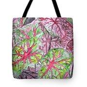 Caladiums Tropical Plant Art Tote Bag