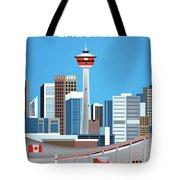Calgary Alberta Canada Vertical Skyline Tote Bag