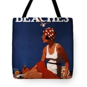 California Beaches - Girl On A Beach - Retro Poster - Vintage Advertising Poster Tote Bag