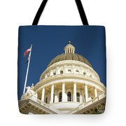 California Capitol Cupola And Flag Tote Bag