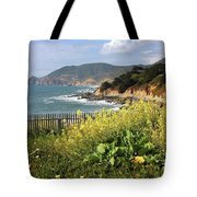 California Coast With Wildflowers And Fence Tote Bag