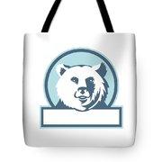 California Grizzly Bear Head Smiling Circle Retro Tote Bag