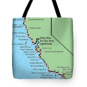 California Lighthouse Map Tote Bag by Christine Till