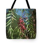 California Pepper Tree Leaves Berries Abstract Tote Bag